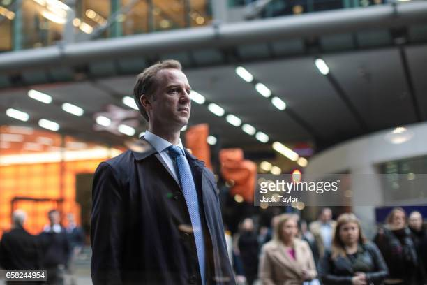 Commuters leave Cannon Street Station on March 27 2017 in London England British Prime Minister Theresa May will trigger article 50 on Wednesday...