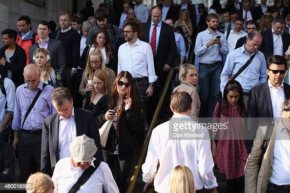 Commuters leave Waterloo Station on July 9 2015 in London England London Underground workers are staging a 15 hour strike after management and unions...