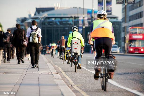 Commuters on foot and cycling