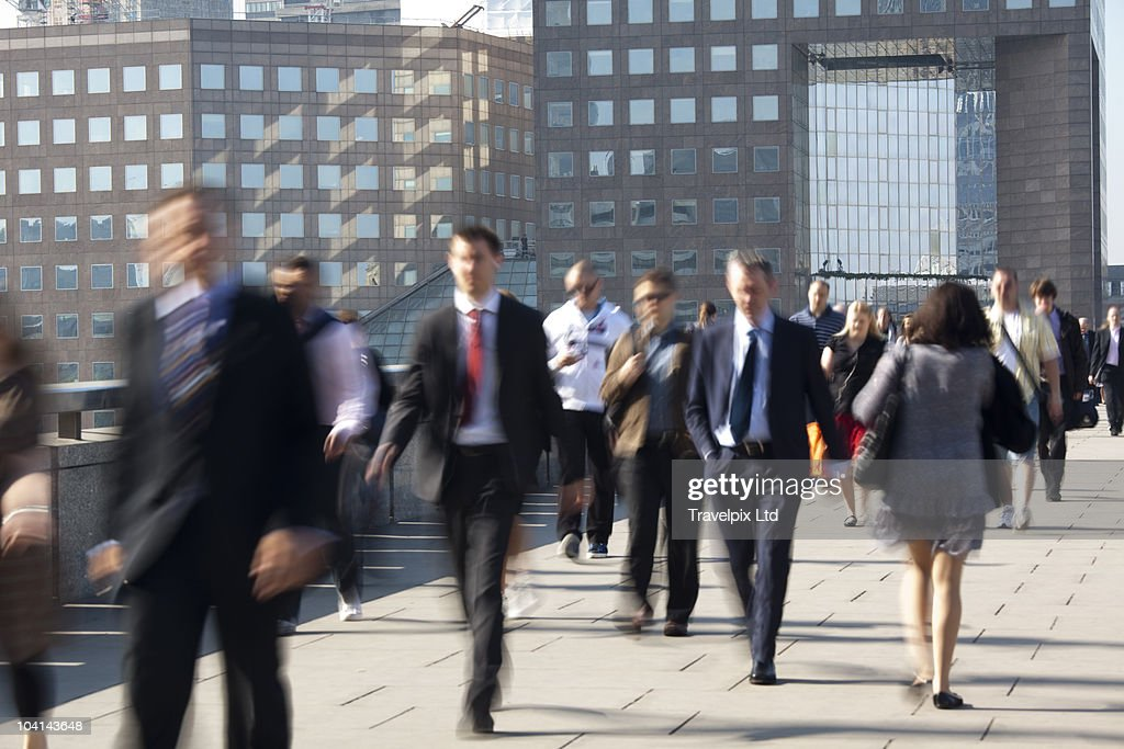 Commuters on London Bridge : Stock Photo