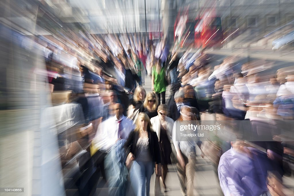 Commuters on London Bridge : Stock Photo