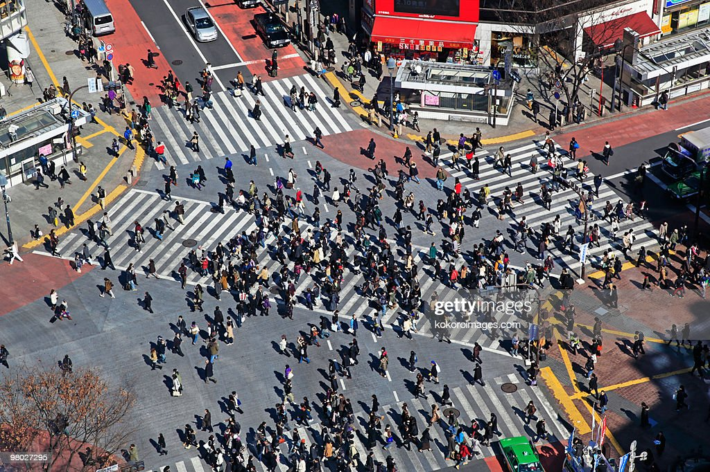 Commuters on Shibuya crossing