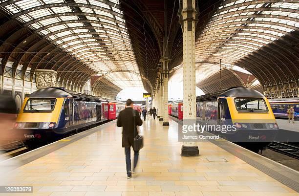 Commuters on the Platform at Paddington Station. London. England. UK.