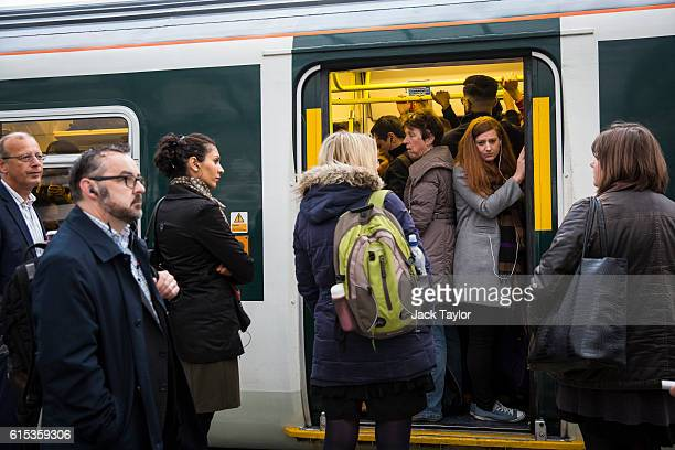 Commuters packed on to a Southern rail train wait to leave East Croydon station on October 18 2016 in London England Staff at Southern rail have...