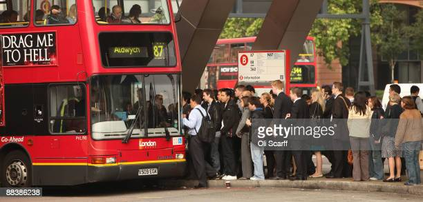 Commuters queue for buses outside Vauxhall Station during the RMT Union's tube strike on June 10 2009 in London England A 48 hour strike began at 7pm...