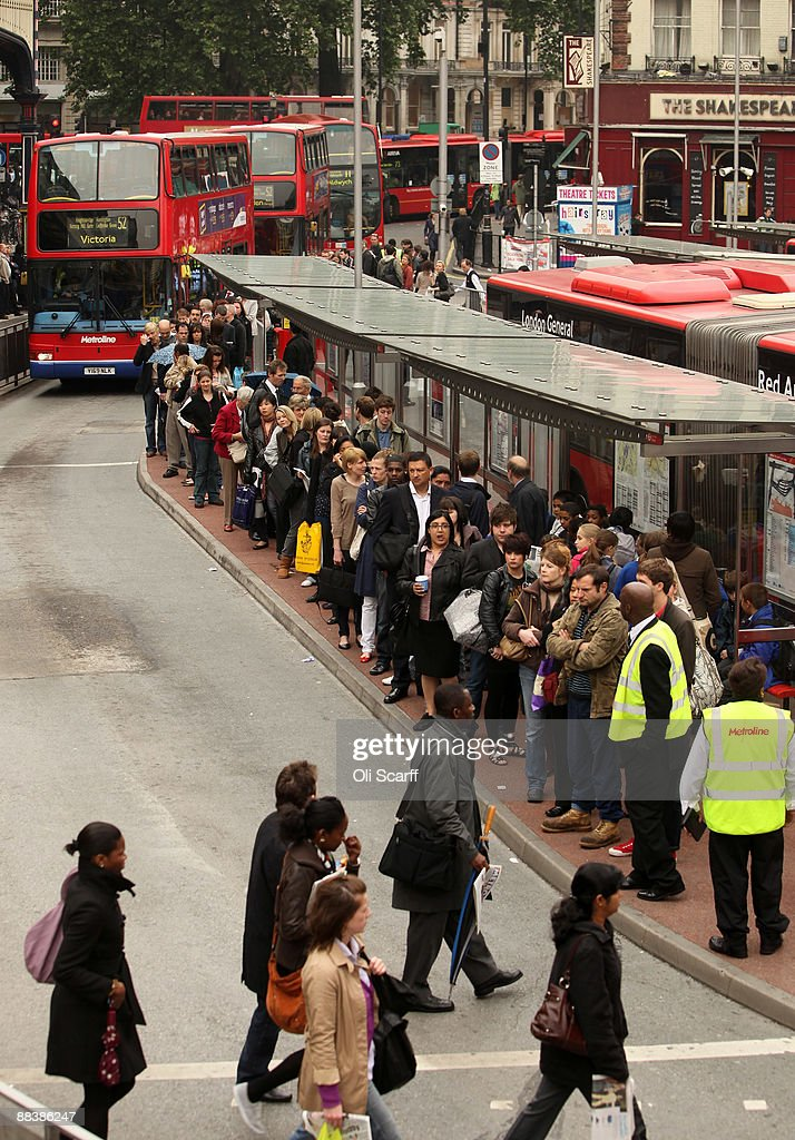Commuters queue for buses outside Victoria Station during the RMT Union's tube strike on June 10, 2009 in London, England. A 48 hour strike began at 7pm yesterday after discussions over pay and working conditions between London Underground bosses and the RMT Union failed to reach a conclusion.