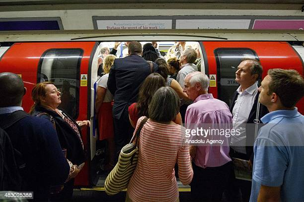 Commuters queuing for tube trains at Moorgate tube station ahead of the Tube strike in the evening rush hour of Wednesday August 5 2015 The strike...