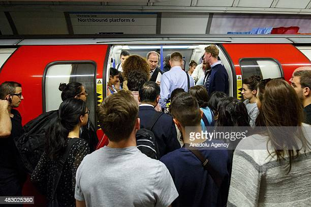 Commuters queuing for tube trains at Oxford Circus station ahead of the Tube strike in the evening rush hour of Wednesday August 5 2015 The strike...