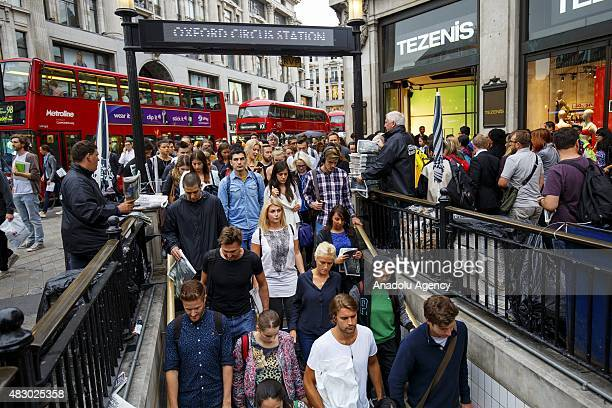 Commuters queuing to enter Oxford Circus tube station ahead of the Tube strike in the evening rush hour of Wednesday August 5 2015 The strike will be...