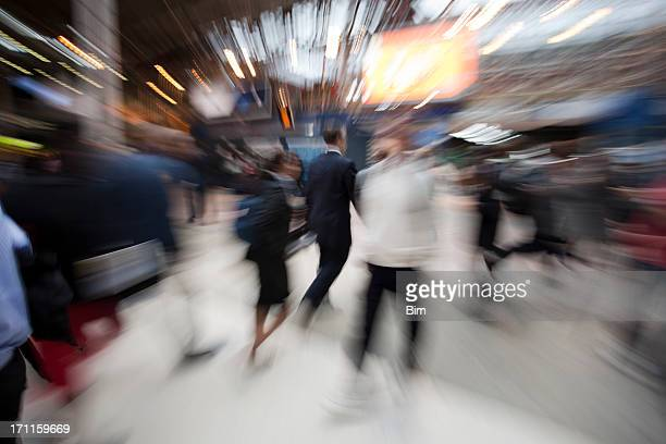 Commuters Rushing in Train Station, Blurred Motion, London, UK