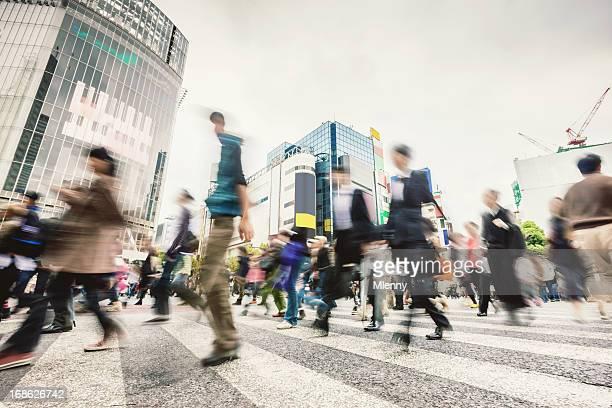通勤者、日本東京渋谷スクランブル交差点