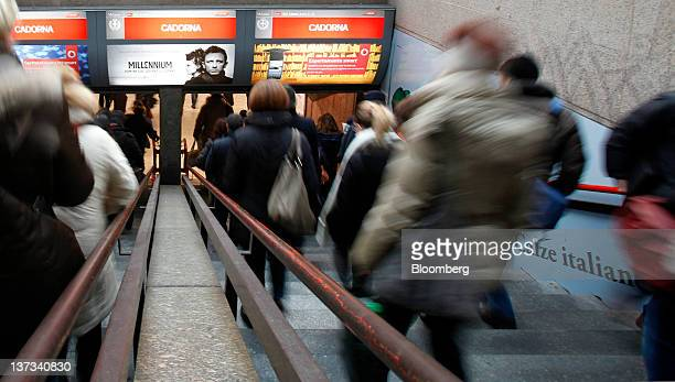 Commuters use a stairway to enter Cadorna train station in Milan Italy on Thursday Jan 19 2012 Italian Prime Minister Mario Monti's Cabinet will meet...