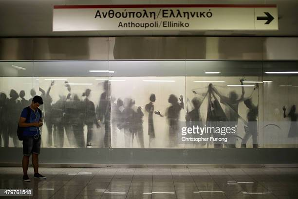 Commuters use the Athens Metro which has been declared free to use during the current Euro crisis on July 7 2015 in Athens Greece Greek Prime...