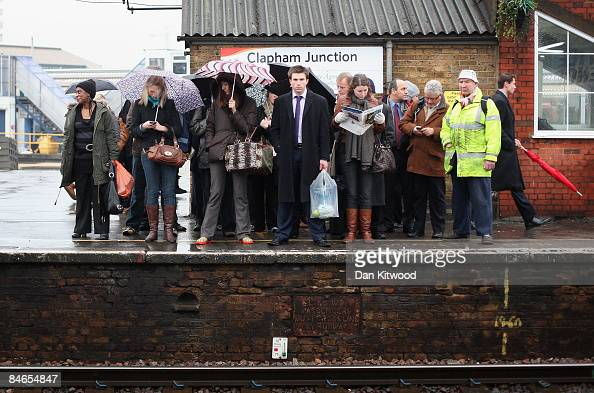 Commuters wait for a train at Clapham Junction on February 5 2009 in London England A recent report by London Assembly's transport committee has...