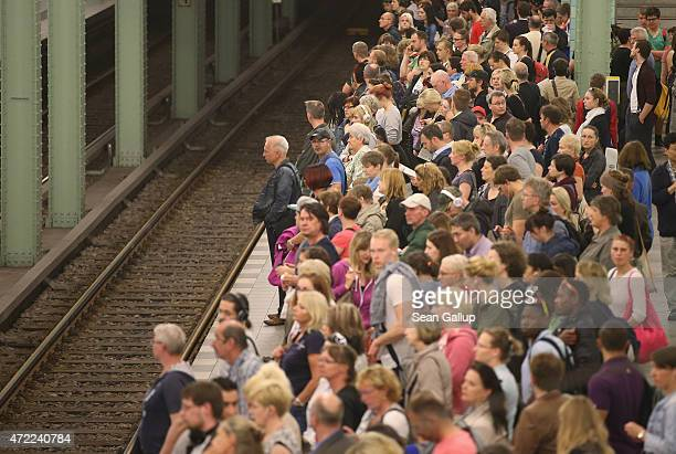Commuters wait for an UBahn metro train at Alexanderplatz station on the first full day of a weeklong nationwide rail strike by the GDL train...