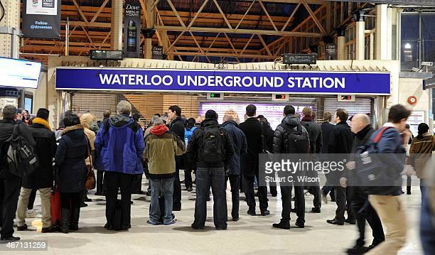 Commuters wait outside Waterloo Underground Station on February 6 in London England Today marks the third day of a 48 hour strike by London...