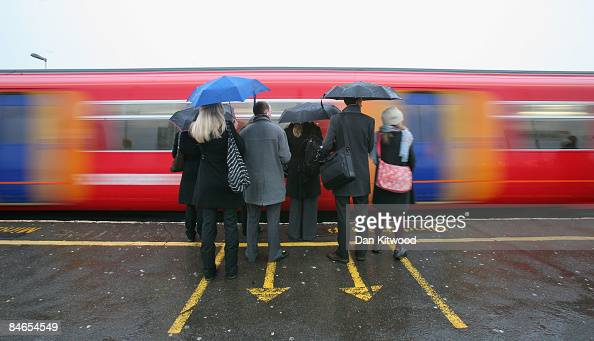 Commuters wait to squeeze on to the next train to Victoria Station at Clapham Junction on February 5 2009 in London England A recent report by London...