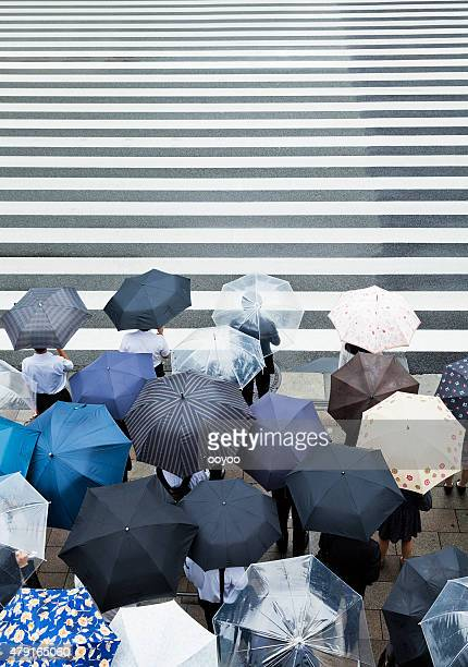 Commuters waiting to cross the road on a rainy day