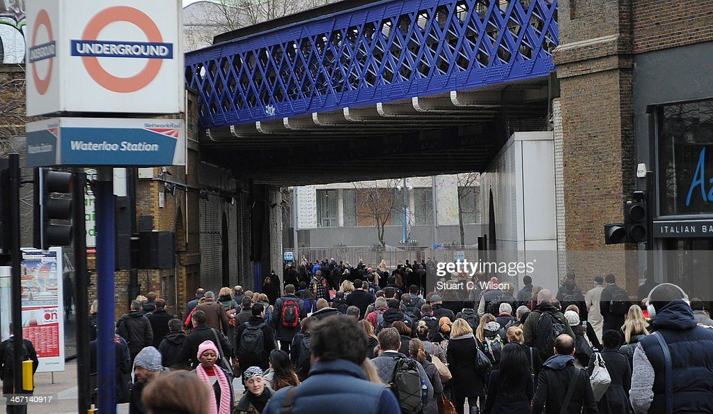 Commuters walk from Waterloo Station on February 6 in London England Today marks the third day of a 48 hour strike by London underground workers...