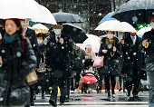 Commuters walk in the snow at Tokyo Station on January 30 2015 in Tokyo Japan ANA and JAL canceled 65 domestic flights some trains delayed due to the...