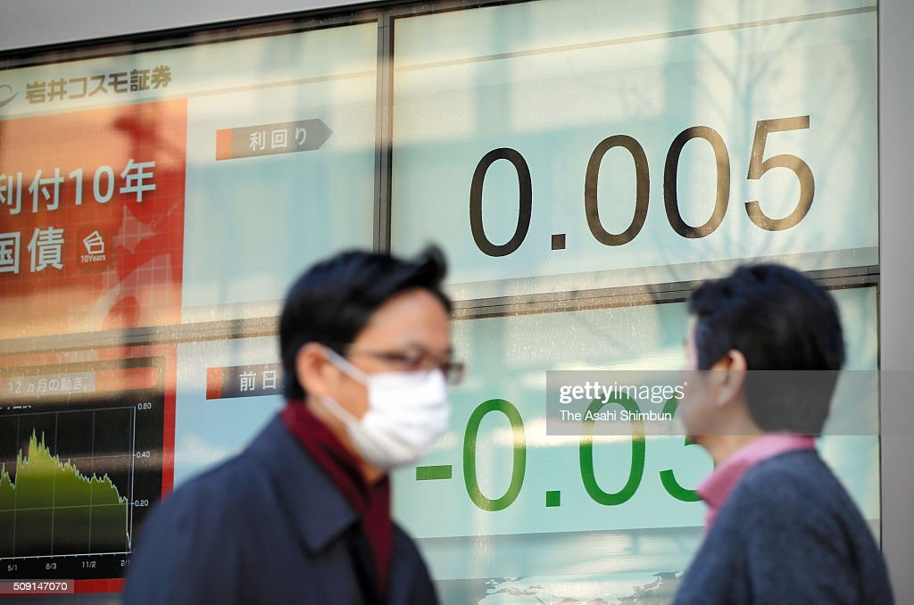Commuters walk past an electric board displaying the yield of the Japanese government's 10-year bond turns negative for the first time on February 9, 2016 in Tokyo, Japan. The Bank of Japan have decided that, beginning February 16, it will apply an interest rate of minus 0.1 percent to some reserves that financial institutions have at the BOJ.