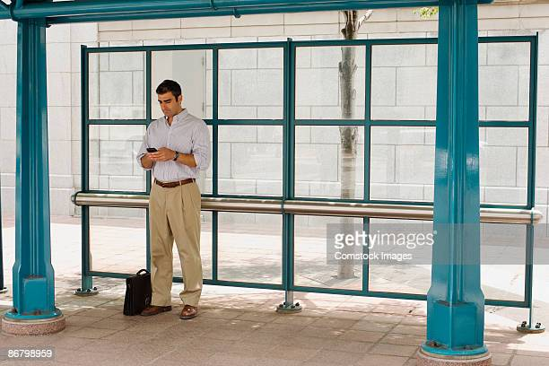 Commuting businessman waiting