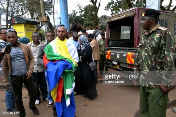 Comoros nationals who have come to show support outside Westgate Mall on September 24 2013 in Nairobi Kenya The terrorist attack occurred on Saturday...