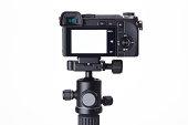 Compact digital camera on mini tripod