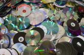 Compact Discs recycling closeup