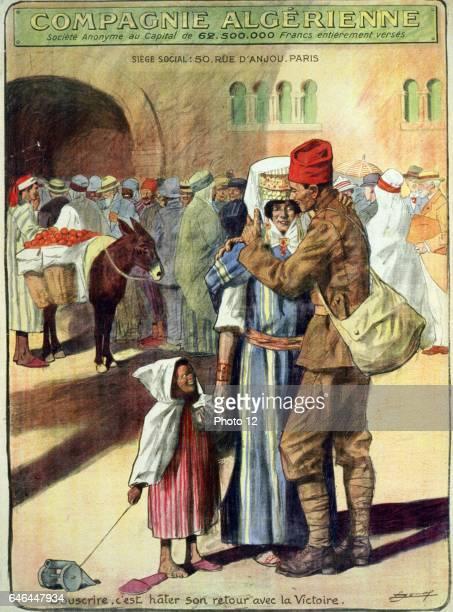 Compagnie Algerienne Souscrire c'est hater son retour avec la victoire By Lucien Jonas 18801947 French artist Published 1918 An Algerian soldier back...