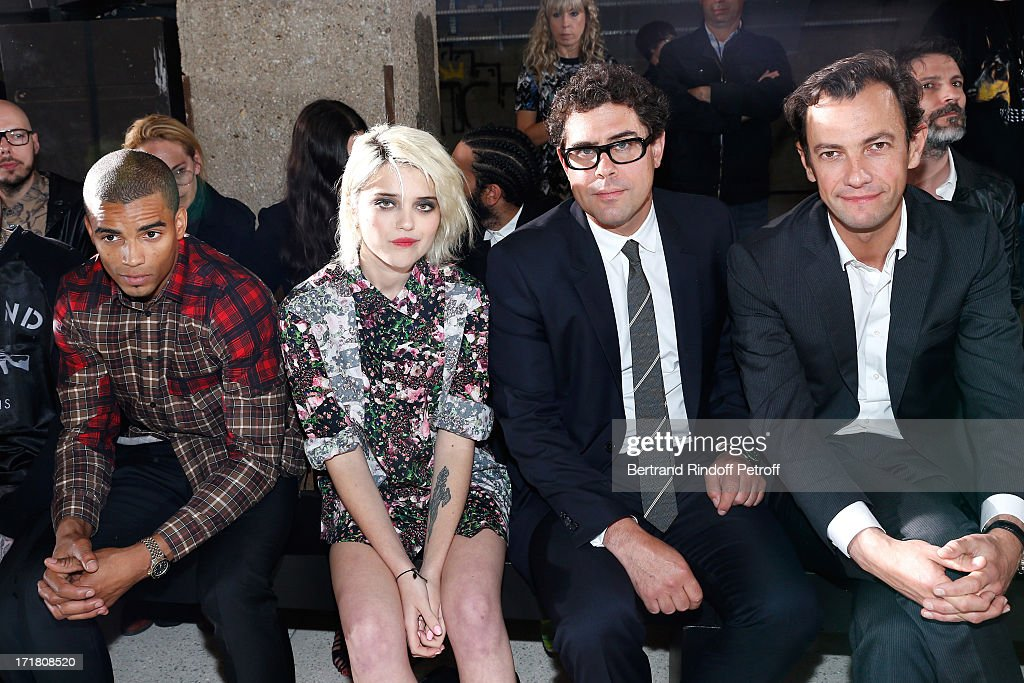 Companion of Madonna, Brahim Zaibat, Singer Sky Ferreira, CEO of Givenchy Couture Sebastian Suhl and Chairman and CEO of LVMH Fashion Division Pierre-Yves Roussel attend Givenchy Menswear Spring/Summer 2014 Show as part of the Paris Fashion Week, held at City of Fashion and Design on June 28, 2013 in Paris, France.