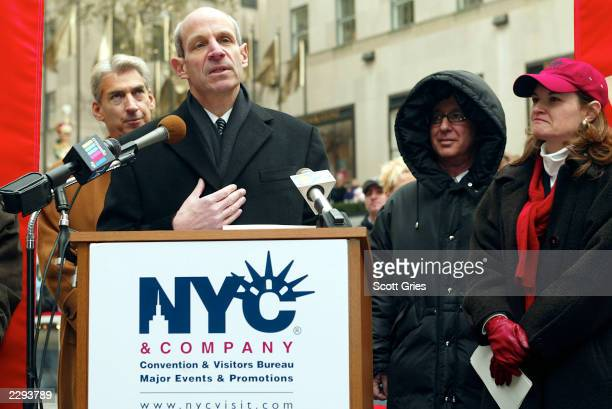 NYC Company Chairman Jonathan Tisch speaks during a press conference to kick off 'NYC Company Paint the Town' at the Rockefeller Center ice rink in...