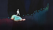 Company Helping and Supporting Customer to Success with Care Concept, Person Steps on Graph over a Careful Gesture Hand