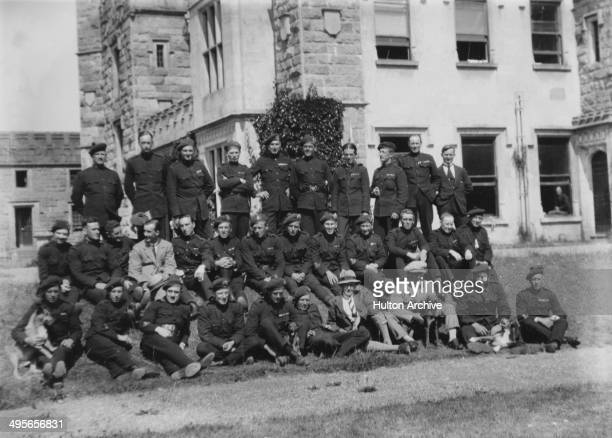 B Company of the Auxiliary Division of the Royal Irish Constabulary outside Castle Saunderson in County Cavan Ireland during the Irish War of...