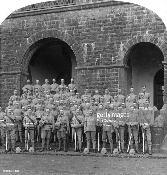 'H' Company Royal Warwickshire Regiment Belgaum India 1900s Stereoscopic slide Detail
