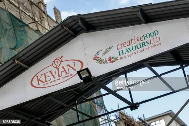 Company sign at beverage manufacturer Kevian Kenya Ltd on May 18 2017 in Thika Kenya