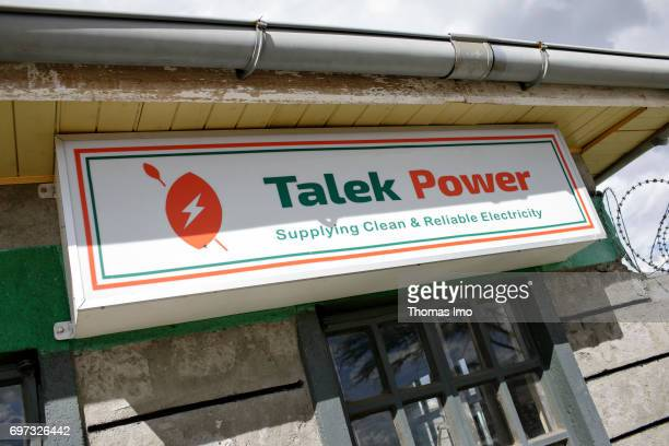Company sign on the building of the solar power plant Talek Power on May 17 2017 in Talek Kenya