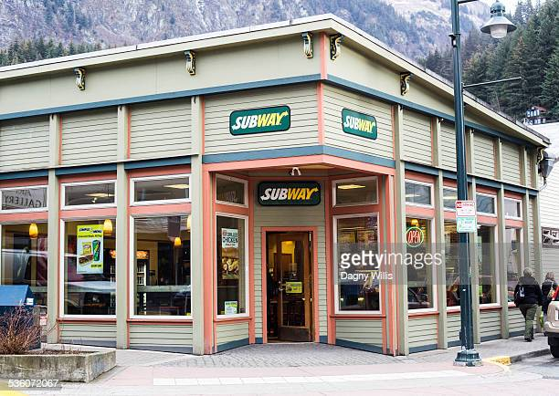 Company sign Subway sandwich storefront in historic building Juneau Alaska