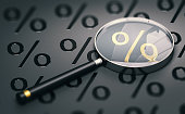 3d illustration of a magnifying glass over black background with percentage symbols and focus on a golden one.