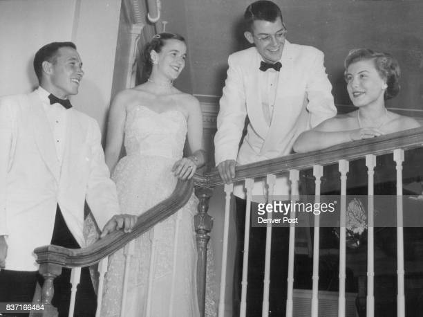 Comparing party doings during intermission are Bert Meclcher a student at Dartmouth college Miss Anabel Carey daughter of the Emerson Careys Jr John...