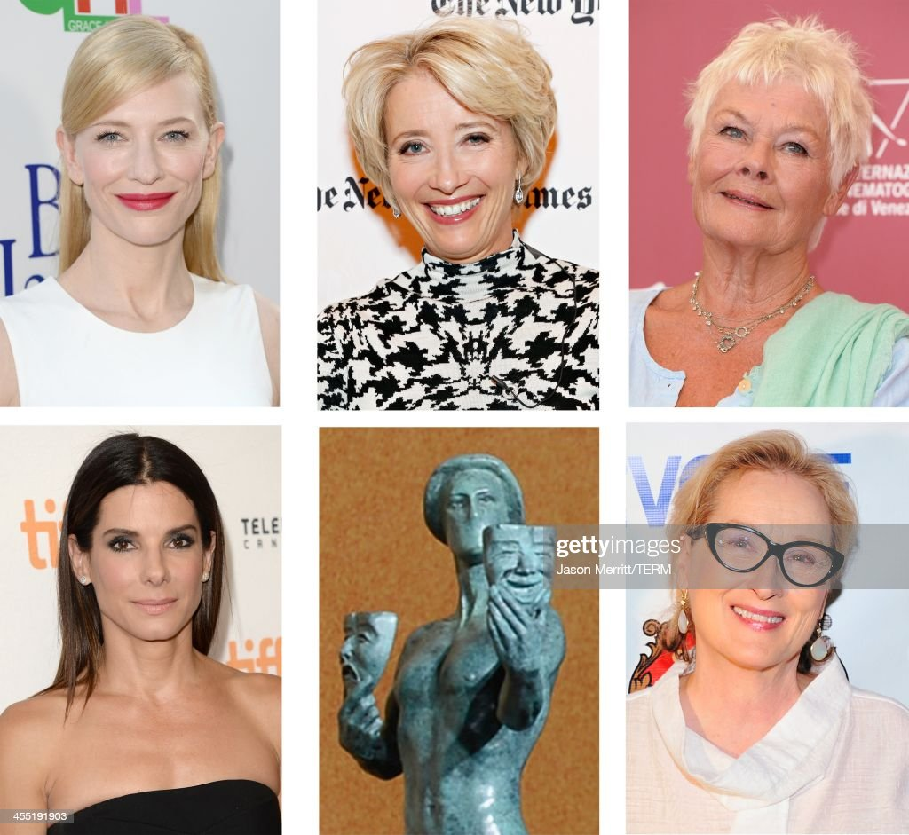 A comparison has been made between the 2014 Screen Actors Guild Awards nominees for Outstanding Performance by a Female Actor in a Leading Role Actress <a gi-track='captionPersonalityLinkClicked' href=/galleries/search?phrase=Meryl+Streep&family=editorial&specificpeople=171097 ng-click='$event.stopPropagation()'>Meryl Streep</a> attends The 2013 Obie Awards at Webster Hall on May 20, 2013 in New York City.