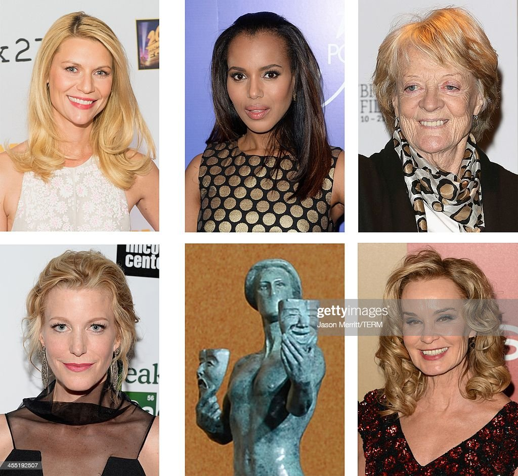 A comparison has been made between the 2014 Screen Actors Guild Awards nominees for Outstanding Performance by a Female Actor in a Drama Series Actress <a gi-track='captionPersonalityLinkClicked' href=/galleries/search?phrase=Jessica+Lange&family=editorial&specificpeople=203310 ng-click='$event.stopPropagation()'>Jessica Lange</a> attends the 14th Annual Warner Bros. And InStyle Golden Globe Awards After Party held at the Oasis Courtyard at the Beverly Hilton Hotel on January 13, 2013 in Beverly Hills, California.
