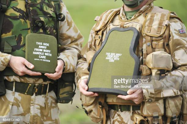 A comparison of British Army body armour On the left is the small plate of body armour that only covers the heart On the right is the much larger...