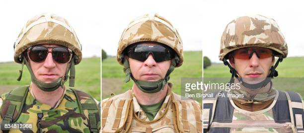 A comparison of British Army clothing a soldier wearing a helmet and goggles issued prior to 2003 a soldier wearing a helmet and goggles that are in...
