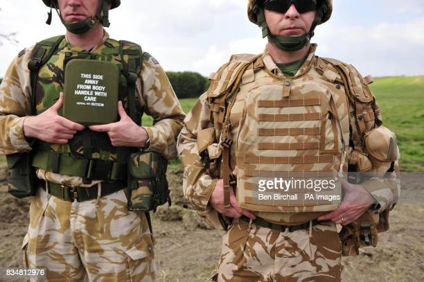 A comparison of British Army clothing and body armour On the left is a soldier that is wearing gear issued prior to 2003 including the small plate of...
