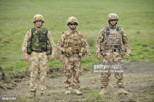 A comparison of British Army clothing with old kit on the left current kit in the centre and kit that is being trialled on the right with enhanced...