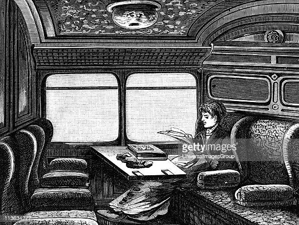 Compartment on the Orient Express reserved for women Wood engraving published Leipzig c1895