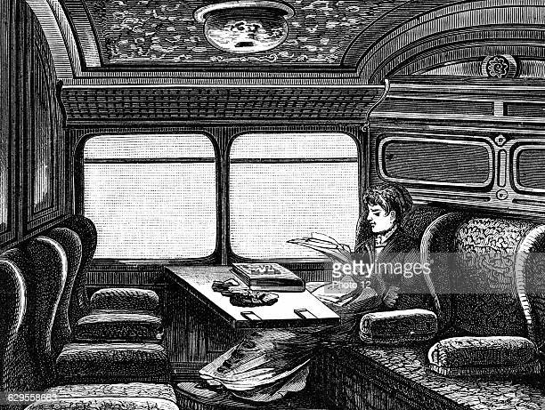 Compartment on the Orient Express reserved for womenc1895Wood engravingLeipzig