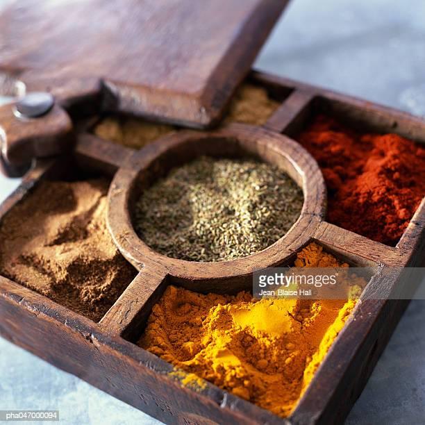 Compartmented wooden box with various spices
