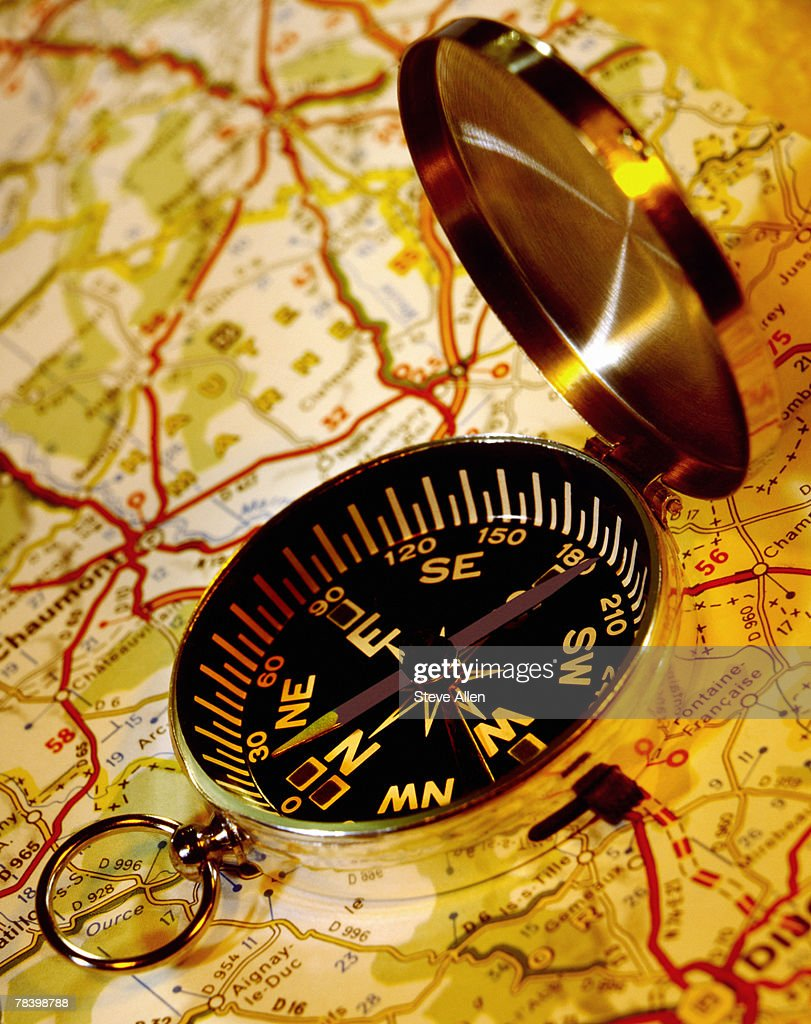 Compass and map : Stock Photo